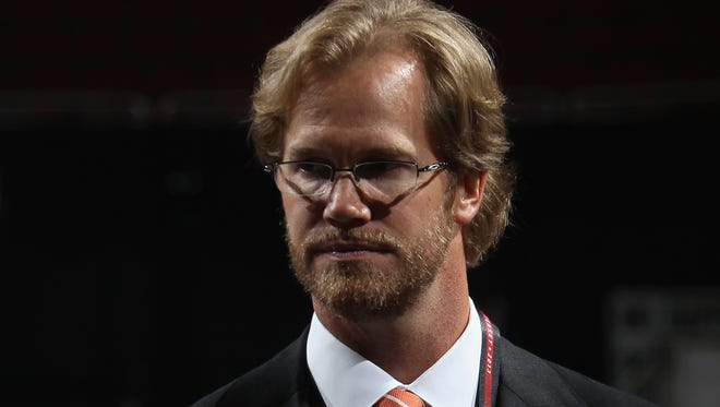 NEWARK, NJ - JUNE 30:  Chris Pronger of the Phiadelphia Flyers looks on from the draft floor during the 2013 NHL Draft at the Prudential Center on June 30, 2013 in Newark, New Jersey.  (Photo by Bruce Bennett/Getty Images)
