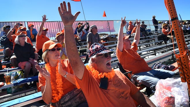 Section 3 founders Bob Lewis, middle, and his wife Barb, left, cheer during the Reno National Championship Air Races at Stead Airport on Sept. 17, 2015.
