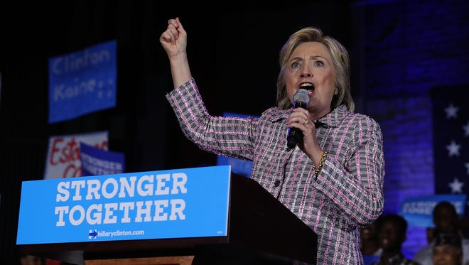 Democratic presidential candidate Hillary Clinton speaks at a Democratic Party organizing event on July 25, 2016, in Charlotte, North Carolina.