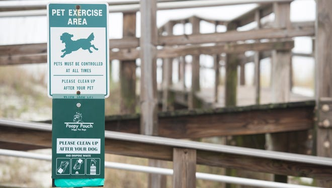 Sign at the dog beach in Pensacola on Wednesday, December 14, 2016.