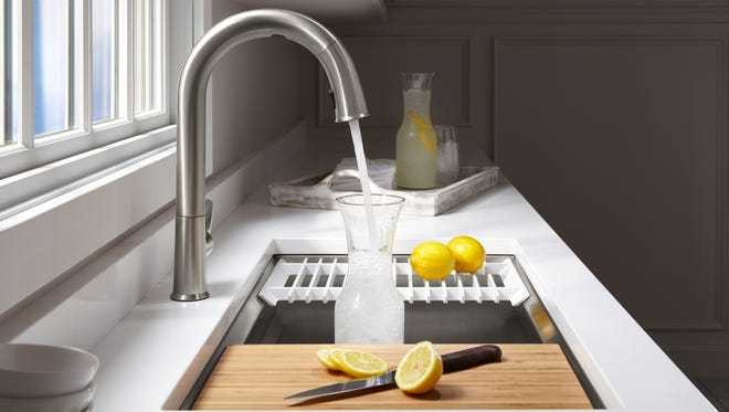 All the fixtures in the house can benefit from a whole house water filter, including the kitchen faucet. (Kohler)