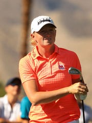 Stacy Lewis tees off on 17 during the 2nd round of the ANA Inspiration at Mission Hills Country Club in Rancho Mirage on Friday.