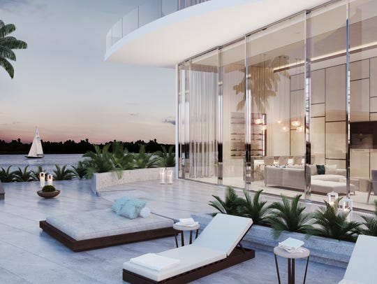 Building amenities at ONE include poolside lounges,