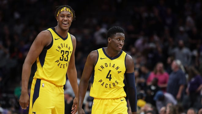 (From left) Indiana's Myles Turner and Victor Oladipo were both named to the 2018-20 USA Basketball men's team. That means they have a chance to represent the country at the 2020 Olympics in Tokyo.
