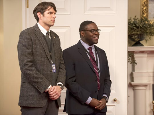 Timothy C. Simons (left) and Sam Richardson in a scene from HBO's 'Veep.'