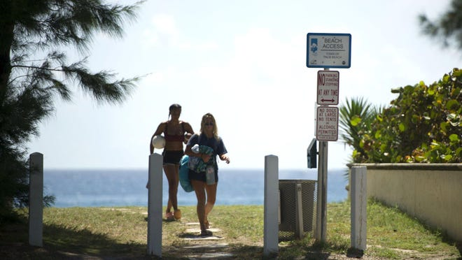 The Town Council on Tuesday will discuss public beach access points, such as this one at Wells Road, and how to stop people from trespassing on private property.