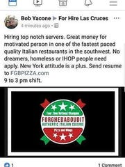 "A post from Bob Yacone's personal account advertised for restaurant staff but specified ""no dreamers, homeless or IHOP people."""