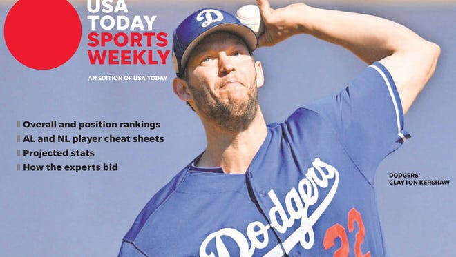 Dodgers pitcher Clayton Kershaw is on one of four regional covers of USA TODAY Sports Weekly's Fantasy Extra issue. The others are Joey Votto, Trea Turner and Chris Sale.