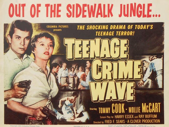 If you were a teenager (or could pass for one) in the 1950s, you likely appeared in at least one juvenile delinquent film, as Tommy Cook did in this1955 release.