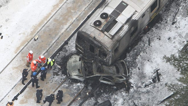 Aerial views of the Metro-North train accident site at the Commerce Street crossing in Valhalla.