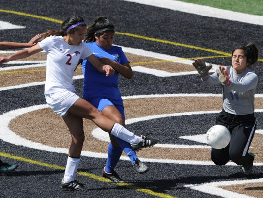 San Angelo Lake View goalie Jaqui Ortiz, right, stops