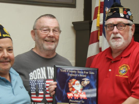 Toys for Tots in York closed its 2017 campaign with thanks to York County's Veterans, Social and Athletic Clubs which raised a combined $13,000 used to purchase toys for distribution during the drive. For the third year American Legion Post #791 (Shiloh) was presented the Engineer's Award for the largest cash contribution. Pictured are Commander Al Gettel, 1st Vice Commander Phil Crouse and York Toys for Tots Chairman Dave Brady. During 2017 the Local Community Organization distributed over 27,400 toys to fulfill requests submitted by 81 Churches, Social Service Agencies & Community Groups in York County. Thank you! submitted photo