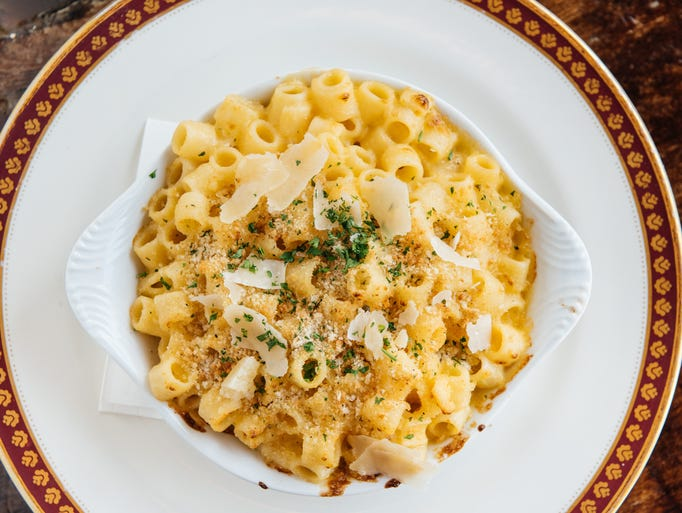 Macaroni and cheese with Gruyere and Brie is served