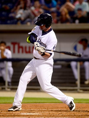 Former Pensacola Blue Wahoos batter Jesse Winker swings while at bat in a game against the Biloxi Shuckers on April 28, 2015 at Blue Wahoos Stadium.