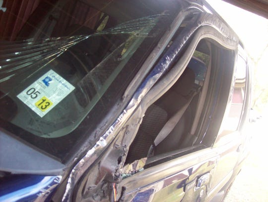 A photograph of the damage done to Pamela Jay's vehicle