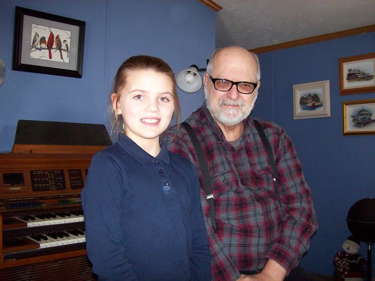 Morgan Wiechman meets her pen pal, former parish organist Mr. George Krejci.