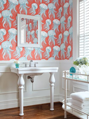 Have some fun this spring with Jelly Fish Bloom wall covering from Thibaut Design's Summer House Collection.