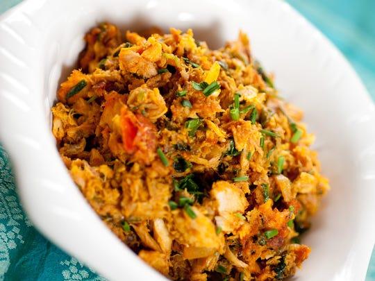 "Savory Tuna Masala is from ""Healthful Indian Flavors with Alamelu."""