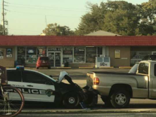 Photo from the scene of an officer-involved car crash
