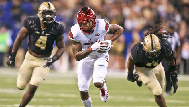 Louisville's Lamar Jackson had 30 completions, 21 runs, 485 total yards and two touchdowns in the win over the Boilers 35-28 at Lucas Oil Field Sept. 2 in Indianapolis.