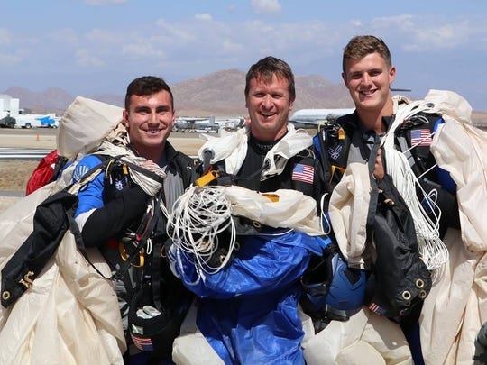 Watkins Memorial graduate Connor Severino, left, and fellow Air Force Academy senior Zachary Wolf, right, won the mixed formation skydiving category duringU.S. Parachute Association National Skydiving Championships in Perris, California.