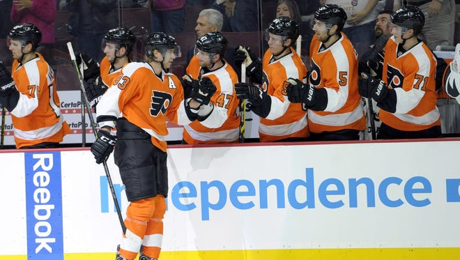 Jake Voracek scored the Flyers' first goal. It came on the power play, along with three others on the night.