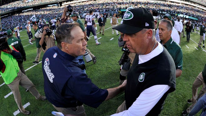 Bill Belichick and Rex Ryan will lead their teams in another AFC East game Sunday.