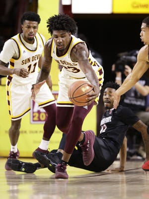Arizona State forward Romello White takes control of the loose ball against San Diego State in the first half on Nov. 14, 2017 at Wells Fargo Arena in Tempe, Ariz.