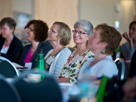 """Attendees listen to a lecture by Susan Deppeprofessor at Auatralian National University, called """"Creating Change: Emotion and Motivation in Restorative Practices and Responsive Regulation"""" during a conference on restorative justice at the University of Vermont in Burlington on Wednesday."""