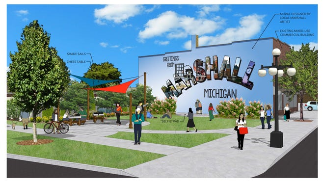 A rendering of Grand Street Park, a proposed project at 228 W. Michigan Ave. in downtown Marshall.