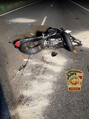 The motorcycle slammed into an SUV on Route 9 in Westboro, police said.