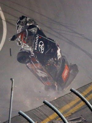 Christopher Bell (4) flips over during a last-lap crash in the NextEra Energy Resources 250 Friday night at Daytona International Speedway.