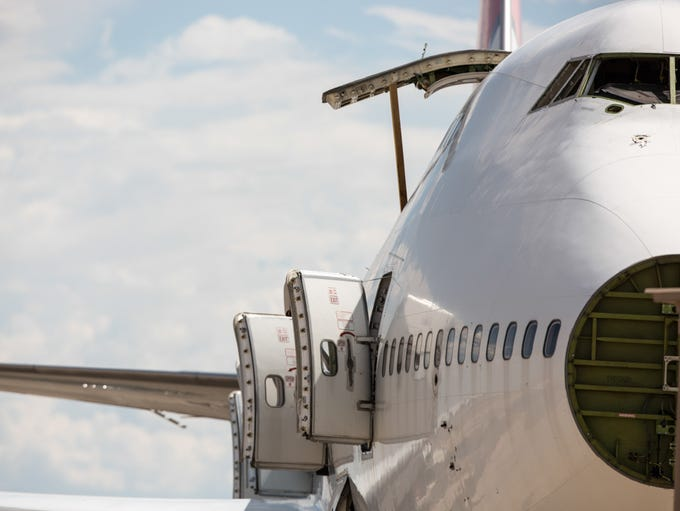 A former Japan Airlines (JAL) Boeing 747-400 rests