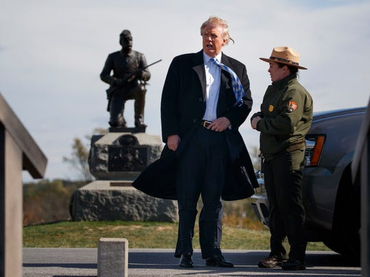Donald Trump in Gettysburg, Pa., on Oct. 22, 2016, ahead of a policy speech during which he also threatened new lawsuits against all of the women who've made sexual allegations against him.