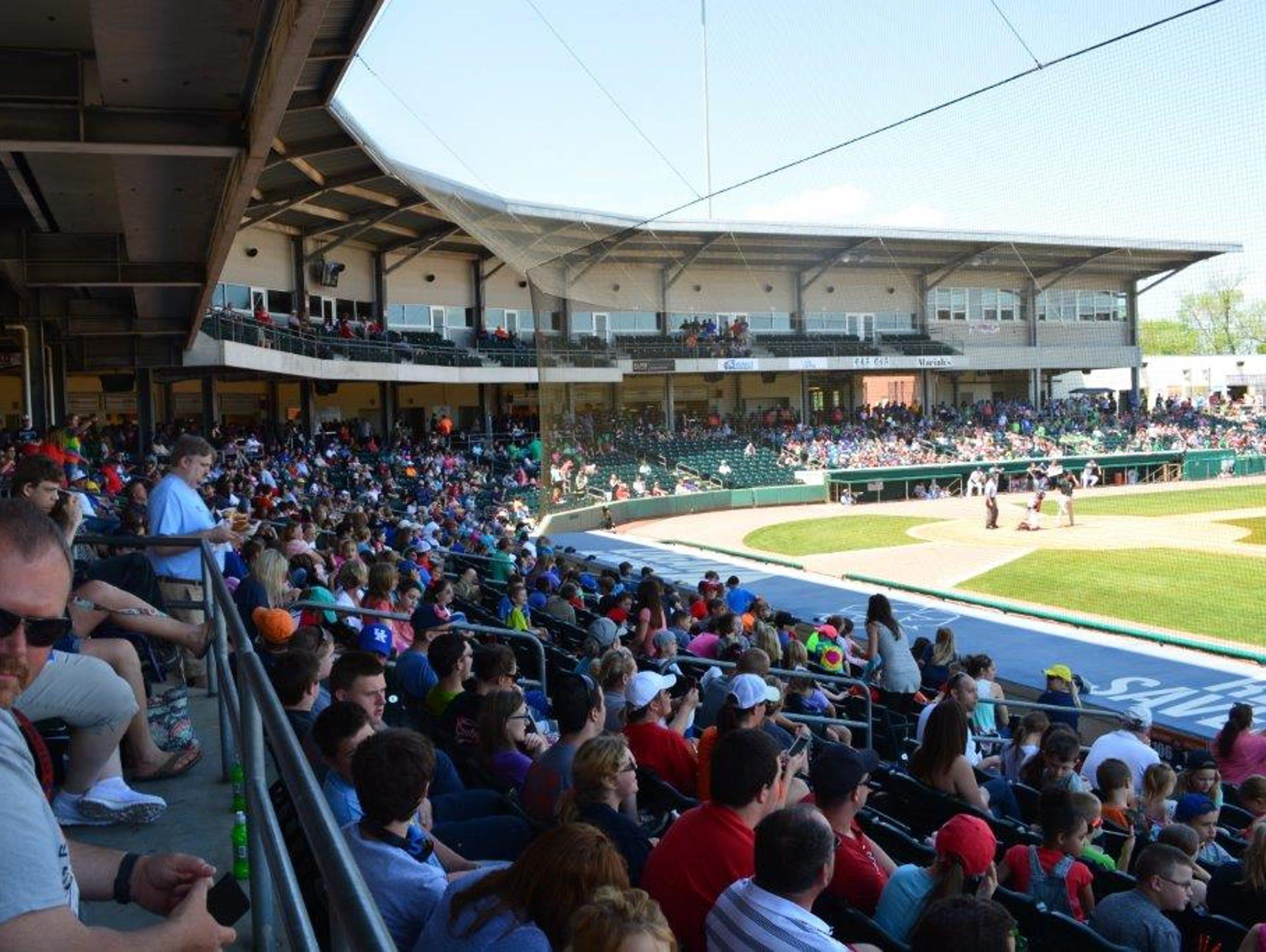 Fans pack Bowling Green Ballpark during an April 26
