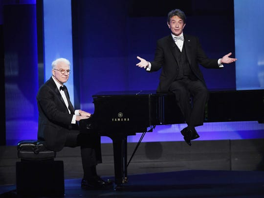 Actors Steve Martin (L) and Martin Short perform onstage