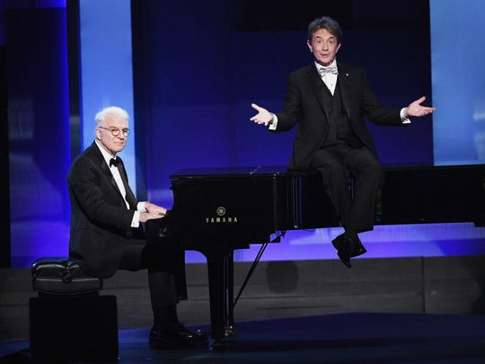 Actors Steve Martin, left, and Martin Short perform onstage during American Film Institute's 45th Life Achievement Award Gala Tribute to Diane Keaton at Dolby Theatre on June 8, 2017, in Hollywood, California.