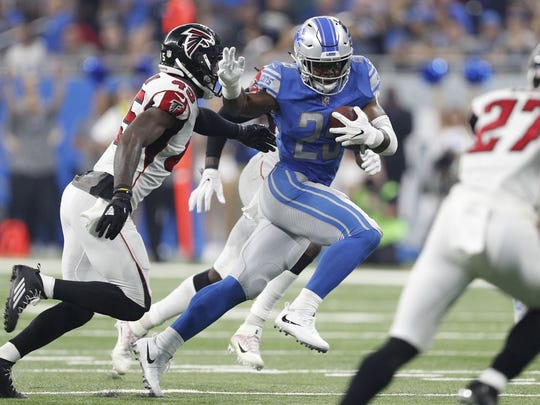 Detroit Lions running back Theo Riddick against the Atlanta Falcons on Sept. 24, 2017.