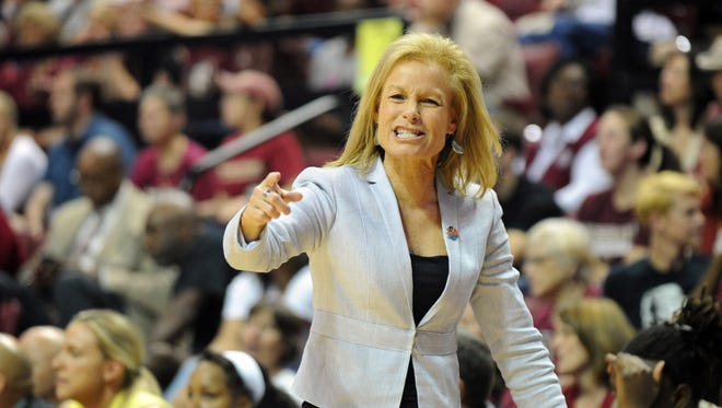 Florida State Seminoles head coach Sue Semrau during the game against the Alabama State Hornets in the first half of the game at the Donald L. Tucker Civic Center.