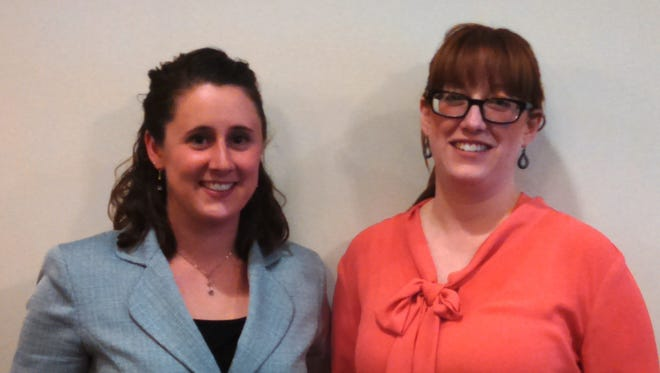 Citizens & Northern Bank employees Joy Wandell, left, loan support specialist, and Elizabeth Johnson, community office manager in Sayre, graduated from the NY-Penn Leadership Program.