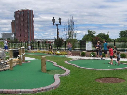 The cost to play the Riverwalk Mini Golf course is $8.