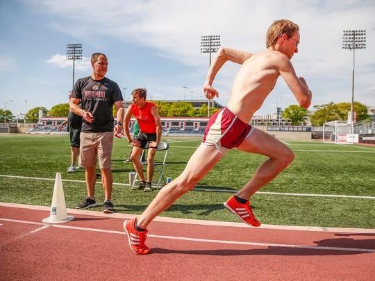 Evan Fruits, IUPUI assistant men's track coach, starts