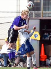 Lakeview's Will Shenefield goes for a header during game action Saturday afternoon.