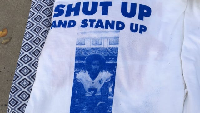T-shirts like this were for sale by Buffalo fans before the game against San Francisco.