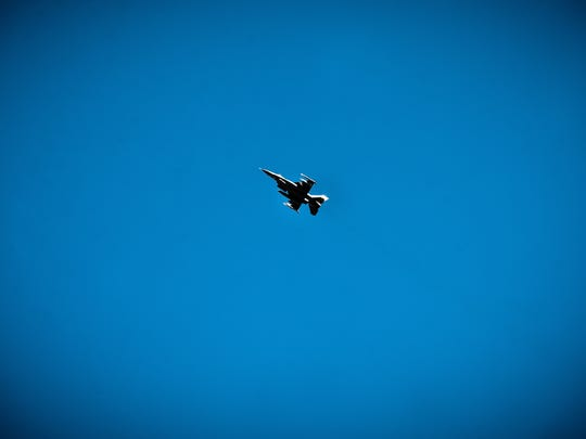An F-16 takes off from the Vermont Air National Guard