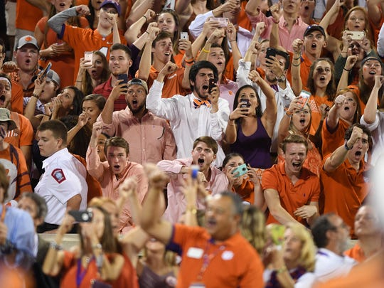 Clemson fans during pre-game of the Tigers game against Louisville on Saturday, October 1, 2016 at Clemson's Memorial Stadium.