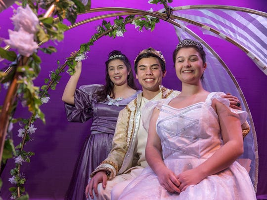 """El Diamante students Allison Martin, right, Chase Canterbury and Nayara Soria rehearse for the musical """"Cinderella"""" at LJ Williams Theater on Friday, January 5, 2018."""