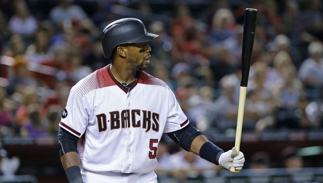 Arizona Diamondbacks left fielder Rickie Weeks (5) at the plate in the 7th inning of their MLB game against the Philadelphia Phillies   Monday, June 27, 2016 in Phoenix.
