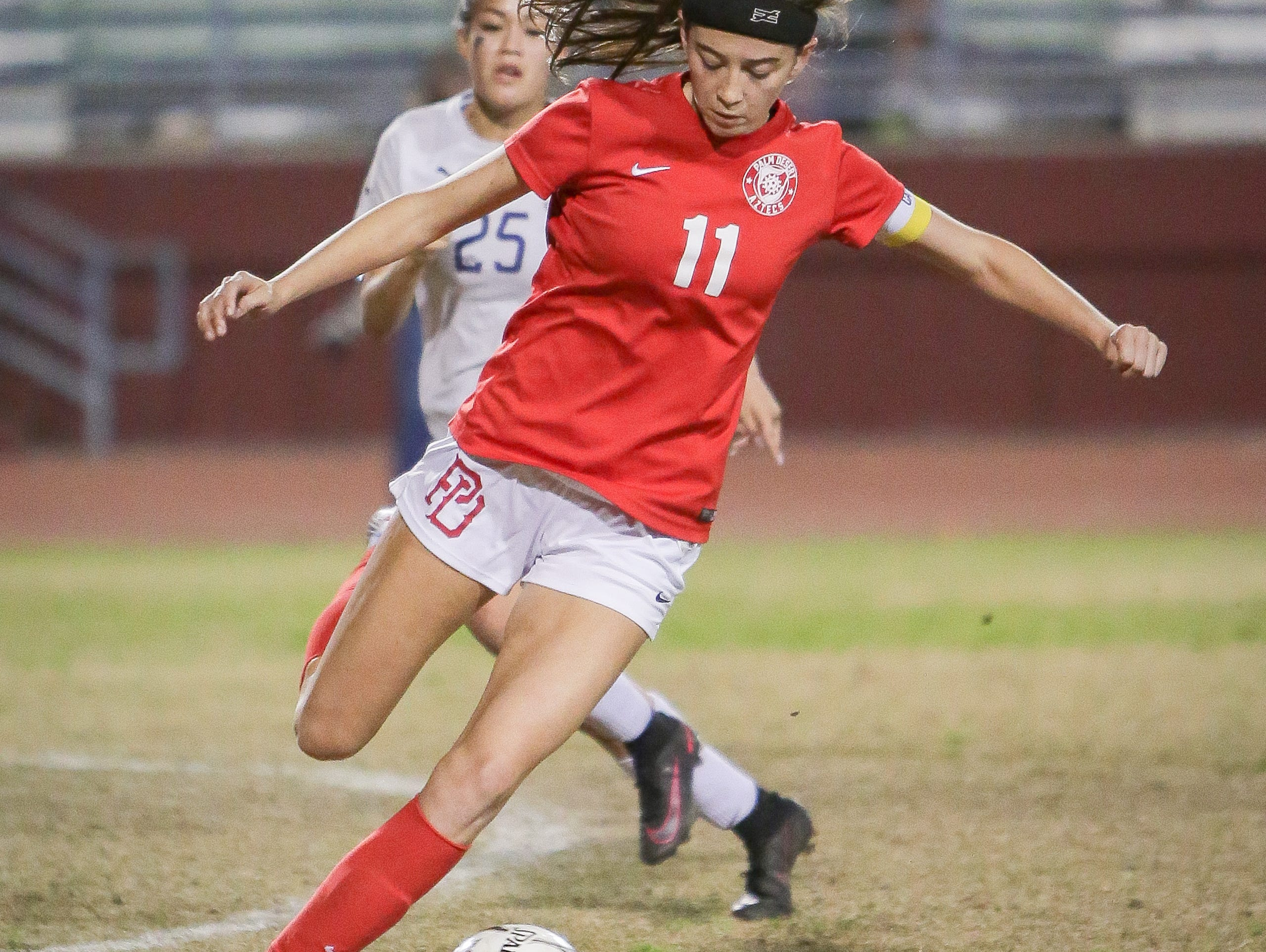 Jane Jordan finds the ball in the midfield. The La Quinta Blackhawks girls soccer team won Monday's home conference game against rival school Palm Desert by a score of 4-0.