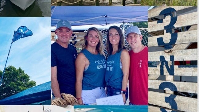 A collage of photographs highlight some of the designs available from 3N3 apparel owners Ryan and Jen Calter and Brandi and Jared Waitkus.